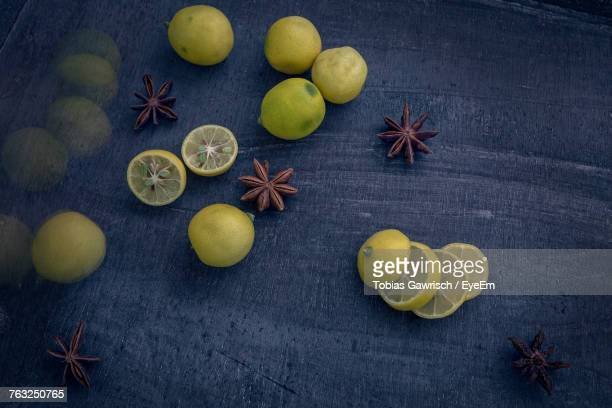 High Angle View Of Fruits On Marble