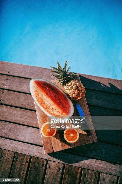 High Angle View Of Fruits On Poolside