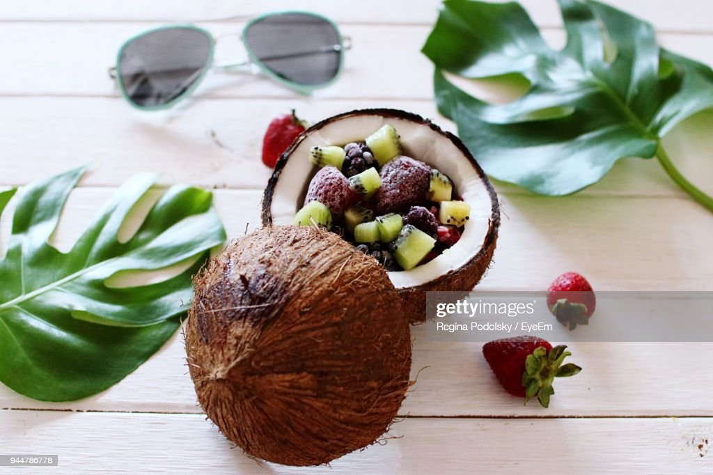 High Angle View Of Fruits On Table : Stock Photo