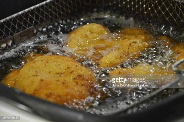 High Angle View Of Frying Food