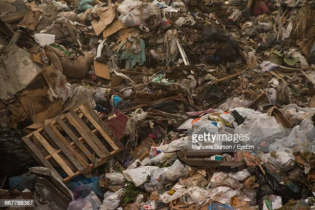High Angle View Of Garbage On Field
