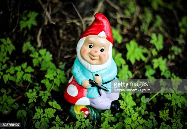 High Angle View Of Garden Gnome Amidst Tiny Plants In Yard