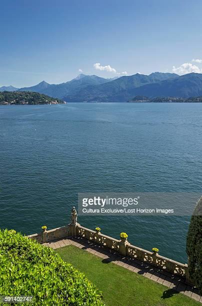 High angle view of garden terrace of Villa del Balbianello, Lake Como, Italy