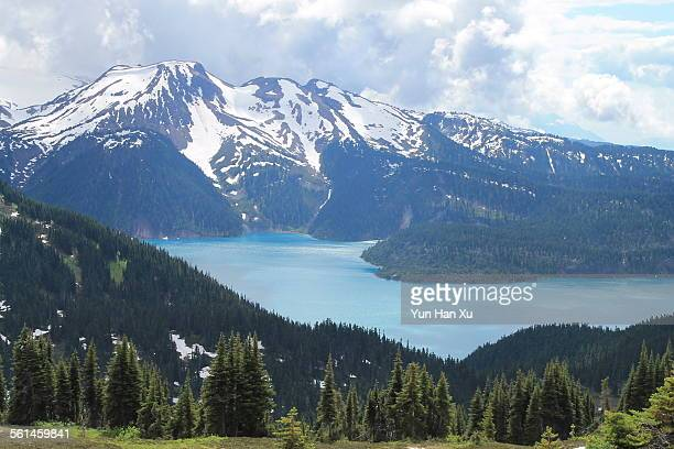 high angle view of garibaldi lake - garibaldi park stock pictures, royalty-free photos & images