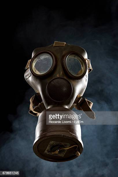 High Angle View Of Gas Mask On Table
