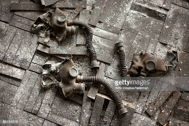 high angle view of gas masks, prypiat, ukraine  - chernobyl stock pictures, royalty-free photos & images