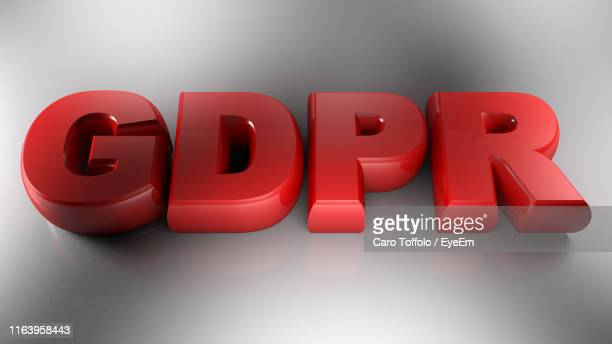 high angle view of gdpr text on gray background - gdpr stock pictures, royalty-free photos & images