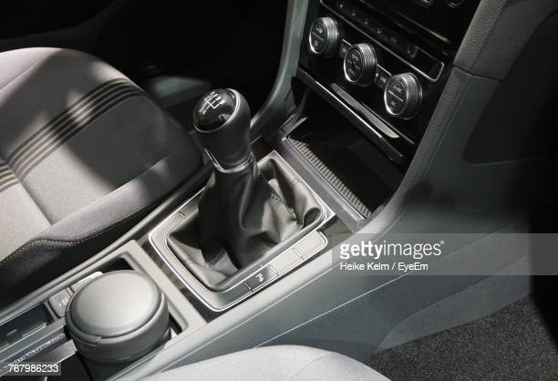 high angle view of gearshift in car - car interior stock pictures, royalty-free photos & images