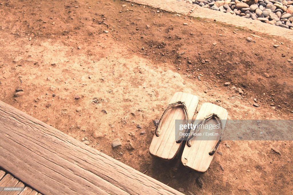 High Angle View Of Geta Sandals : Stock Photo