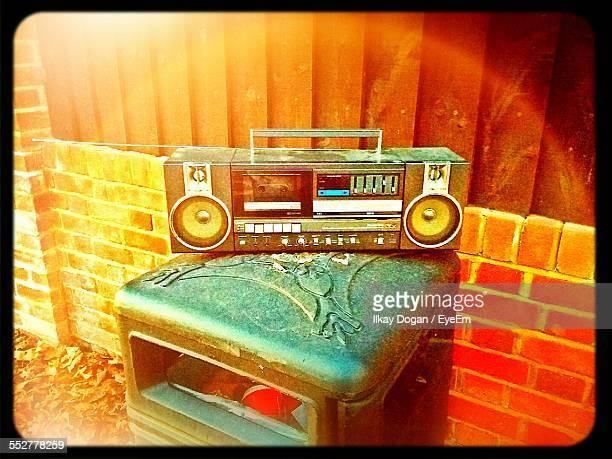 High Angle View Of Ghetto Blaster On Table