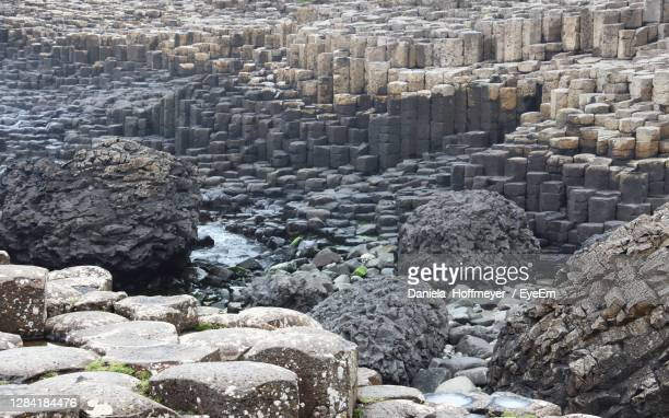 high angle view of giants causeway - rock stock pictures, royalty-free photos & images