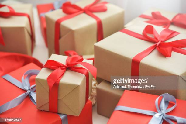 high angle view of gift boxes at home - gift stock pictures, royalty-free photos & images
