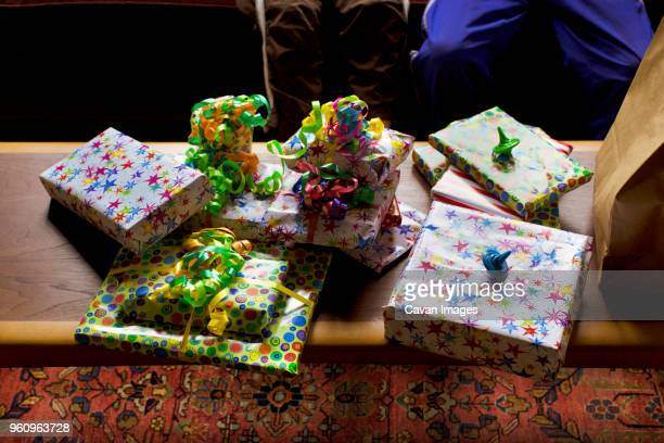 High angle view of gift boxes on table at home