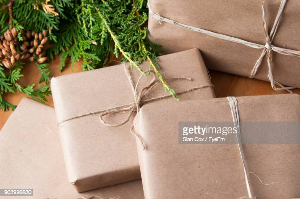 High Angle View Of Gift Boxes On Table