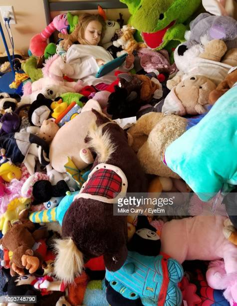 high angle view of girl sleeping with stuffed toys - eyeem collection stock pictures, royalty-free photos & images