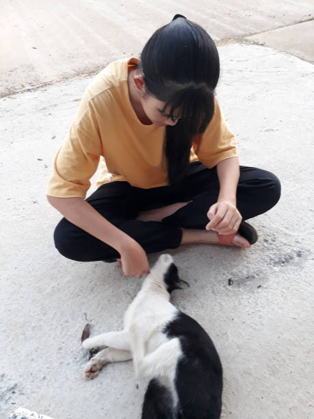 High Angle View Of Girl With Cat Sitting On Floor