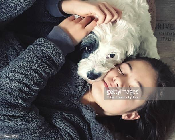 High Angle View Of Girl With Dog At Home