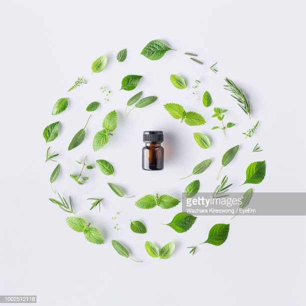 high angle view of glass bottle amidst herbs over white background - still life foto e immagini stock