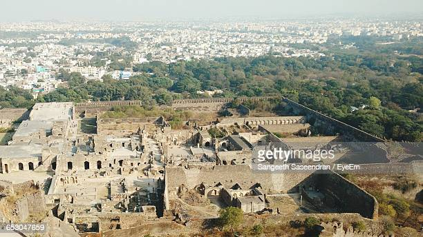 High Angle View Of Golconda Fort In City On Sunny Day
