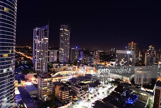 High Angle View Of Gold Coast Cityscape At Night
