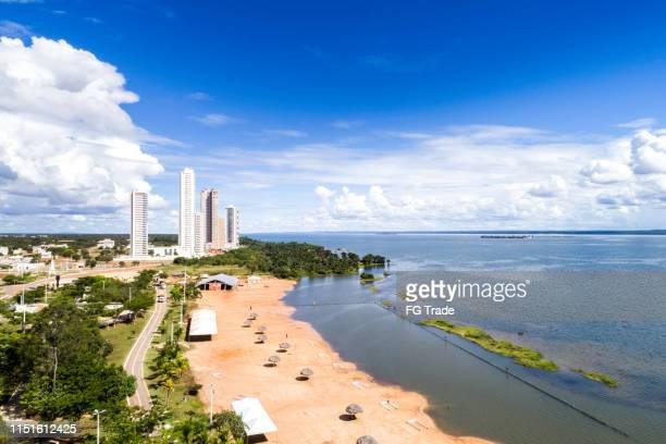high angle view of graciosa beach in palmas, tocantins - palmas tocantins imagens e fotografias de stock