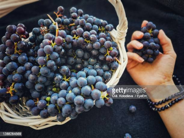 high angle view of grapes in basket - ニジニ・ノヴゴロド州 ストックフォトと画像