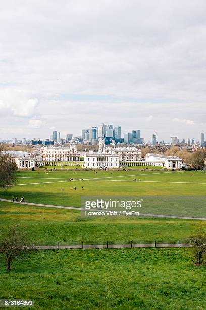 High Angle View Of Grassy Field Against Greenwich