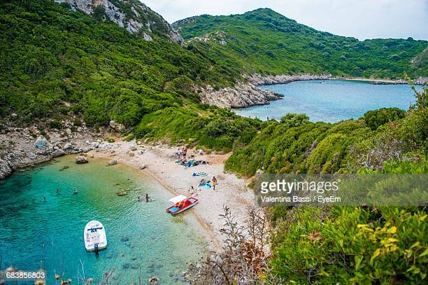 High Angle View Of Greek Beach From Corfu