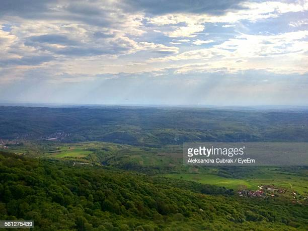 High Angle View Of Green Landscapes On Sunny Day