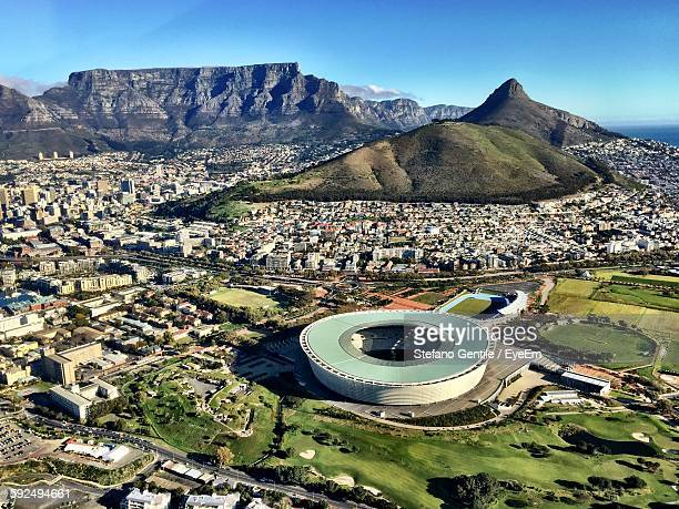 high angle view of green point stadium against sky - cape town stock pictures, royalty-free photos & images
