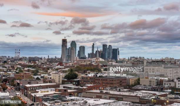 high angle view of greenpoint, brooklyn and long island city, queens - queens new york city stock pictures, royalty-free photos & images