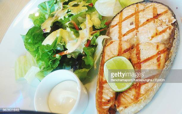 High Angle View Of Grilled Salmon Steak And Salad With Cream Sauce On Plate