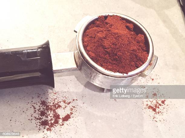 High Angle View Of Ground Coffee In Portafilter
