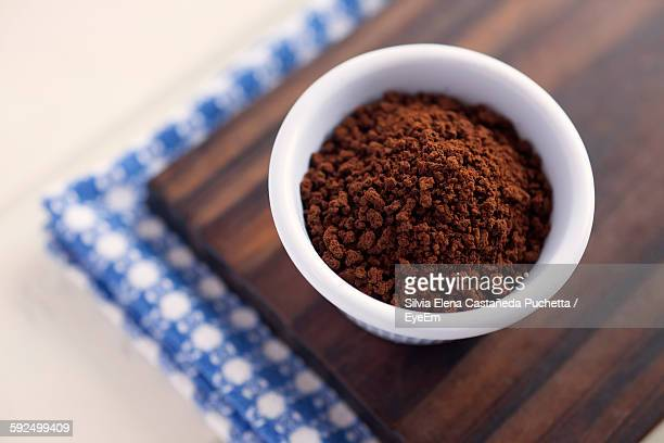 High Angle View Of Ground Coffee On Table
