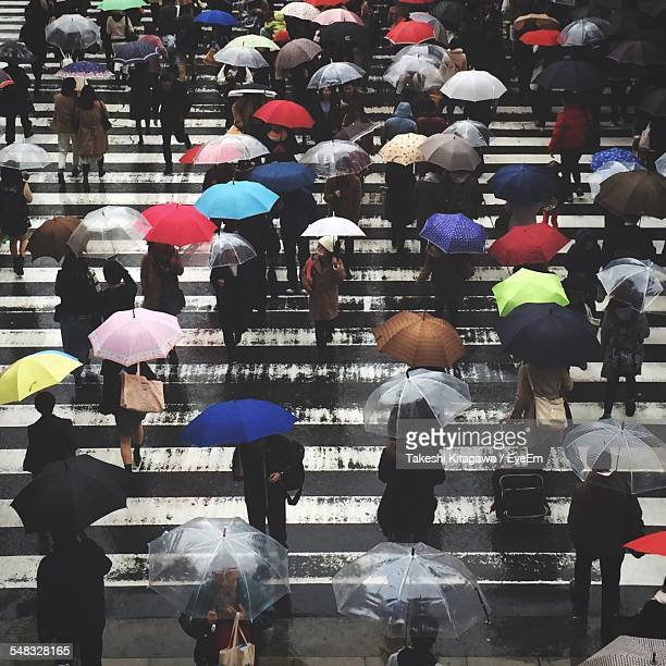 High Angle View Of Group Of People Walking In Street With Umbrellas