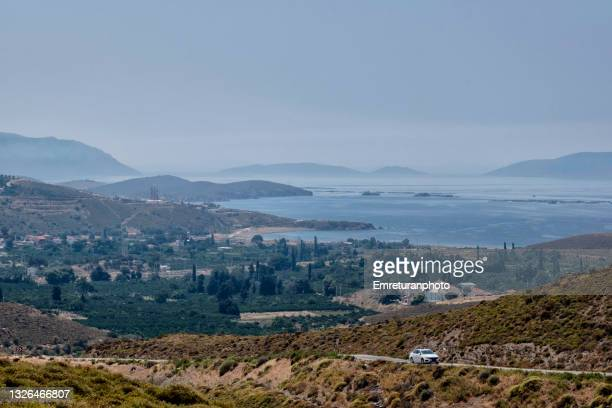 high angle view of güzelbahçe village on a sunny day. - emreturanphoto stock pictures, royalty-free photos & images