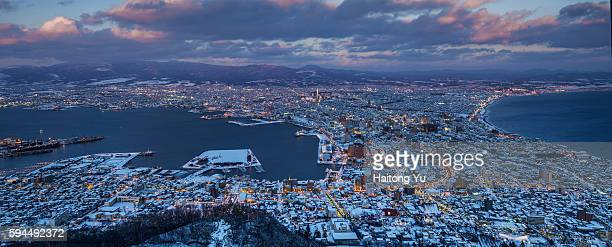 High angle view of Hakodate peninsula, Hokkaido, Japan