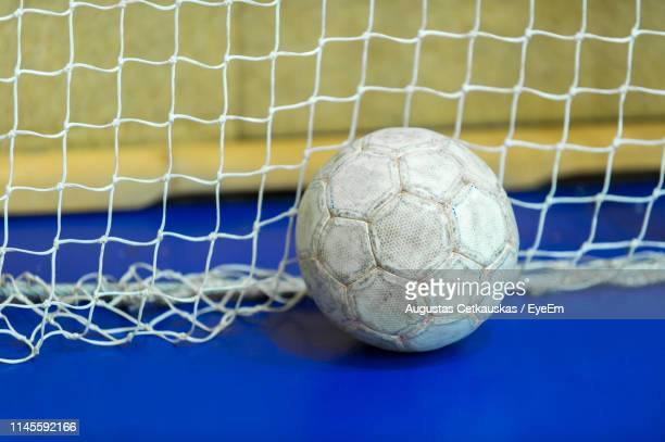 high angle view of handball at court - handball stock pictures, royalty-free photos & images