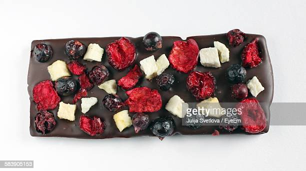 High Angle View Of Handmade Chocolates On White Background