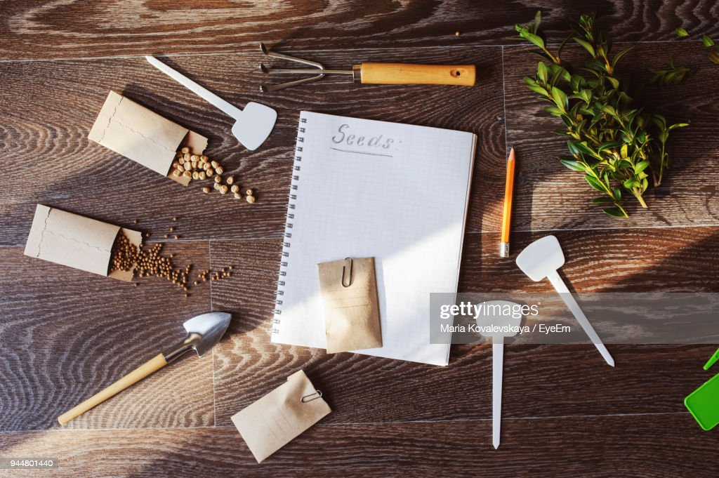 High Angle View Of Handmade Envelopes With Seeds On Table : Foto de stock