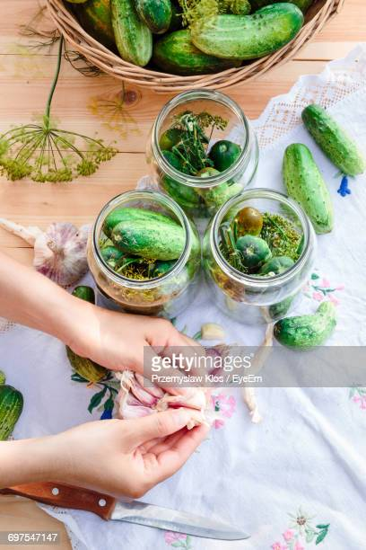 high angle view of hands preparing food - fermenting stock pictures, royalty-free photos & images