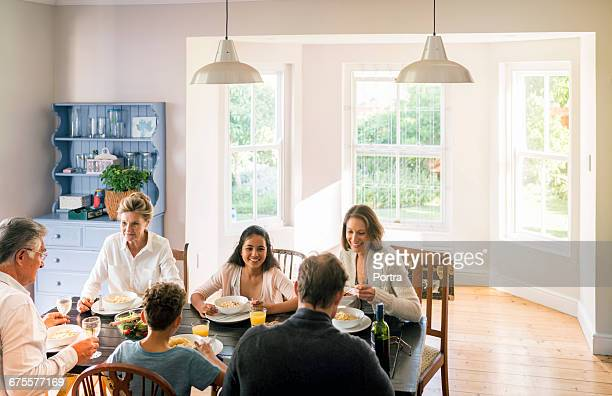 High angle view of happy family enjoying at home