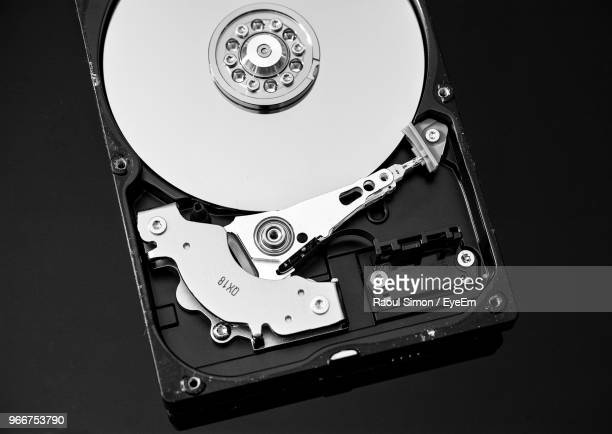 High Angle View Of Hard Drive On Black Background
