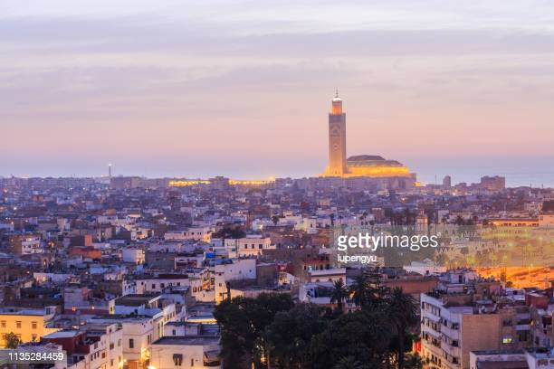 high angle view of hassan ii mosque in casablanca, morocco - casablanca stock pictures, royalty-free photos & images