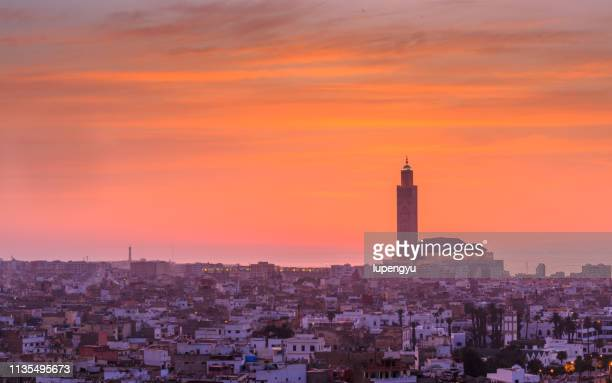high angle view of hassan ii mosque in casablanca, morocco - mosque hassan ii stock photos and pictures