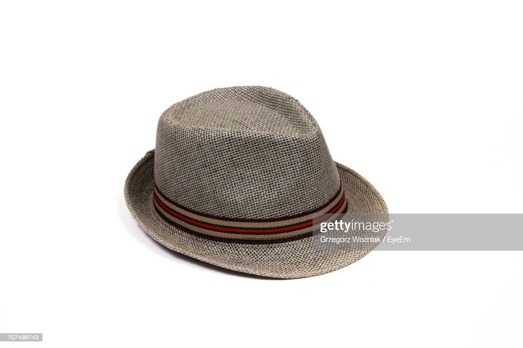 High Angle View Of Hat On White Background : Stock Photo