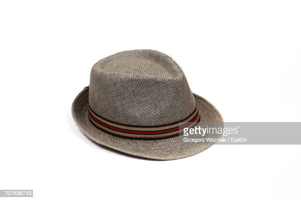 high angle view of hat on white background - hat stock photos and pictures