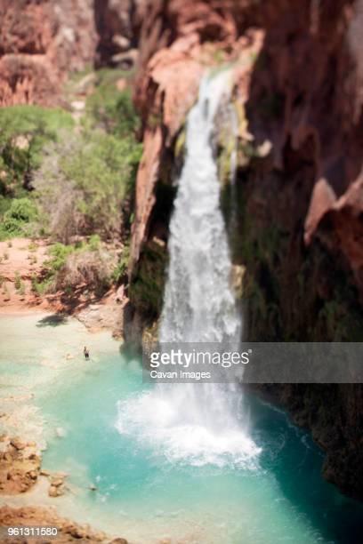 high angle view of havasu falls at grand canyon national park - havasu canyon stock photos and pictures