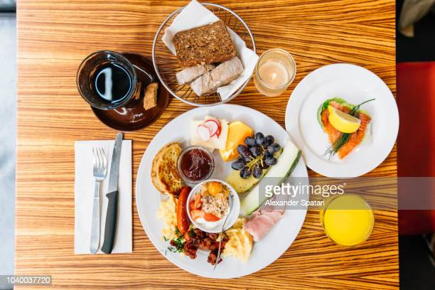 High angle view of healthy brunch on the table at the cafe