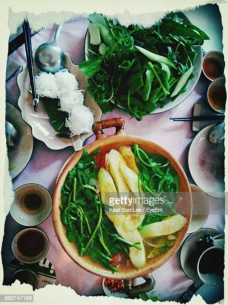 High Angle View Of Healthy Food Served On Table